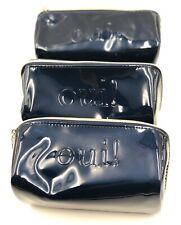 Lot of 4 : Lancome OUI! Shiny Patent Makeup Bag Case ~ Dark Blue