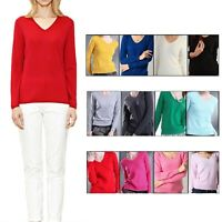 cashmere Sweater Ladies Jumper Pullover Wool top Womens V Neck UK size 6-14