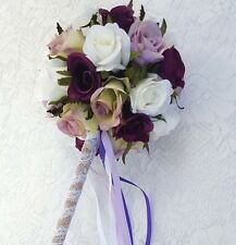 Flower Girl Floral Wand - Purple, Mauve, White Rose Wand for Flower Girl