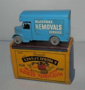 Light Blue.1950s.Lesney Matchbox 17 REMOVALS  Metal wheels....in box,Original