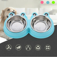 Double Bowls Pet Dog Cat Puppy Food Water Stainless Steel Non-Slip Feeding