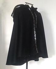 Lodenmantel Umhang mit Borte Kapuze schwarz CAPE Mantel Loden Wolle Mittelalter