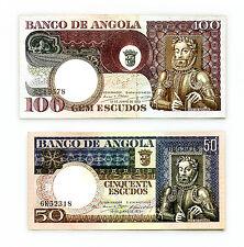 2 different Angola 1973 50 & 100 ESC. Au