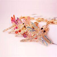 Cute Dragonfly Key Chain Crystal Pendant Keyring Keychain Keyfob Gift NEW