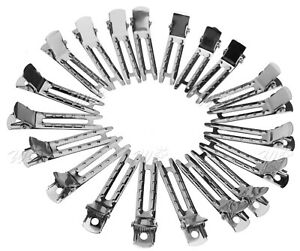 50 x Hair Clips Barrette Silver Crocodile Alligator Findings Bows Double Prong