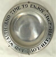 Vintage Wilton Armetale RWP Pewter Health Love & Wealth Plate, Columbia PA