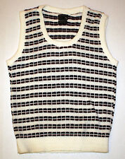 Vintage Towncraft Mens Sweater Vest Acrylic M White Navy Blue Maroon