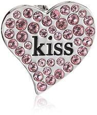Swarovski Damen-Charm Metall Emaille Kristall rosa Kiss Heart Clip 5002667 NIB