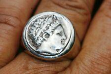 Cameo Roman Head Coin RING  MEN /  LADY HEAVY 925 Sterling Silver Rings SIZE 9