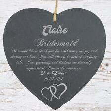 Personalised Bridesmaid Gift Slate Plaque Double Heart Symbol SLA210-9