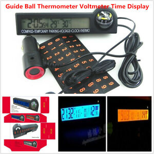 Car Guide Ball Thermometer Voltmeter Time Display LED Backlit Electronic Clock