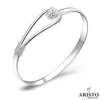 Charm 925 Sterling Silver Vintage Flower Bangle Bracelet Ladies Jewellery Gift
