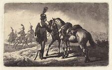 Johann Adam Klein, el húsar con los dos handpferden, aquatinta, 1811