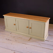 3 Door Low Cupboard with Solid Oak Top Storage Cabinet Painted
