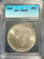 1887 Morgan Silver S$1 Dollar Coin ICG Graded MS 63 Toned Spots Reverse Rare