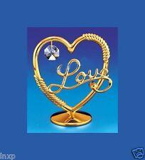 corazón con Swarowski CRISTALES equipado chapado en oro decoración 9cm AMOR