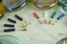 ♫ 8 Thimbles Gold 24 K with Heatshrink Sleeving Little Thread Cells ♫