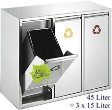 45 l Abfallsammler Mülltrennung Mülleimer Abfalleimer 3x15 L, orig. Made for us®