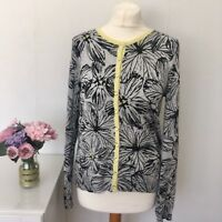 Size 10 M&S Floral Print Cardigan Grey Black and Pale Yellow R5