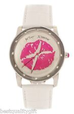 BETSEY JOHNSON WHITE LEATHER+GOLD,PINK KISS LIPS,MIRROR DIAL WATCH-BJ00108-03