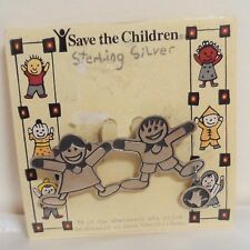 Save the Children 925 Sterling Silver Brooch Lapel Pin Boy Girl Playing Vintage