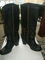 WOMENS BLACK LEATHER ZIP FASTENER TIMBERLAND BOOTS SIZE 6.5 UK