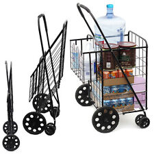 Grocery Shopping Cart Folding Shopping Bag Supermarket Trolley Large Metal Store