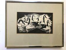 Woodblock Print Helen Lindbeck Geese Modernist Mansfield Ohio USA Framed 8.5x11