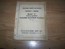 "ALLIS CHALMERS PARTS CATALOG MODEL ""C"" GLEANER BALDWIN COMBINE 1965"