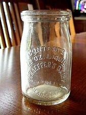 1930's SCHAEFFER Clare MICHIGAN Mich. MI. dairy milk bottle cottage cheese jar