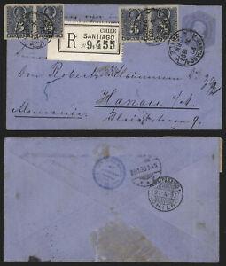 Chile 1893 - Registered Stationery Santiago to Hanau Germany G32