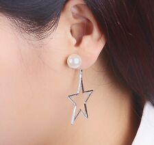 Silver Tone Korean Star Pearl Ear Stud Drop Dangle Stud Earrings Gift Party  S1