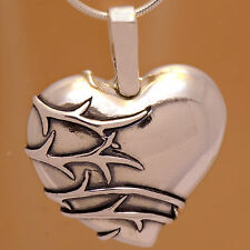 Vintage Lovely Heart Flower Pendant Stylish Impressive 925 Sterling Silver