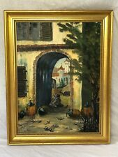 Original Artwork Oil Painting Old Campeche Mexican Street Archway Church Signed