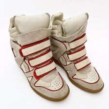 Isabel Marant Red Wila Willow Red Concealed Hidden Wedge Suede Sneakers Size 40