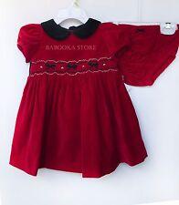 Hartstrings Little Girl Red Velvet Christmas Dress, Baby Girl Holiday Dress 3-6m