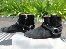 Isabel Marant Etoile RALF Embellished Suede Ankle Boots, Black, Italy Size EUR38
