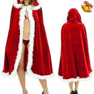 Miss Mrs Santa Claus Adult Womens Ladies Christmas Fancy Dress Outfit Cloak Cape