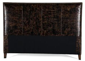 King Size Old World Espresso Brown Genuine Leather Headboard For Bed, Nail Heads
