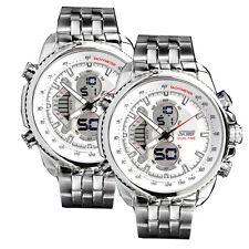 2x Wasserdicht Armbanduhr Analog Digital Herren Uhr Edelstahl Quarzuhr Sportuhr