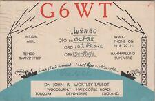 Vintage HAM G6WT Devonshire England QSL Radio Cards Wortley Talbot Used Posted