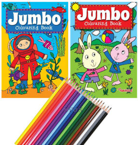 KIDS A4 Jumbo Activity Colouring Book Books Pencils OVER 140 PAGES boys girls