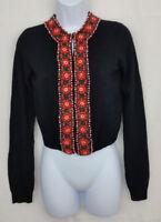LUCKY BRAND Womens SMALL Cardigan Black Beaded Orange Cashmere Angora Rockabilly