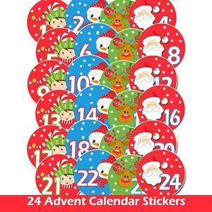 24 X Advent Calendar Countdown 24 1 Sleeps until Christmas Stickers Labels Kids