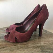 "Nine West Jacero Size 8 Peep Toe Suede Stilettos 4"" Heels Women's Purple Pumps"