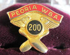 Peoria W.B.A. 200 Pin With Bowling Pins, Ball, and Wings-- Pinback