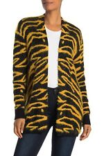 Susina Open-Front Long Cardigan Sweater Fuzzy Cozy Soft Tiger Print XS NWT