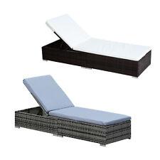 More details for garden outdoor rattan recliner lounger sun lounger recliner bed chair 2 color