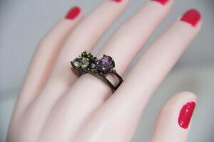 Artisan Amethyst, Aquamarine and Emerald Sterling Silver Ring