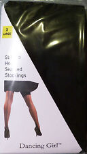 Dancing Girl XL Size Stiletto Heel Black Seamed Sheer Stockings